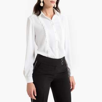 Anne Weyburn Crepe Scalloped Trim Blouse with Long Sleeves