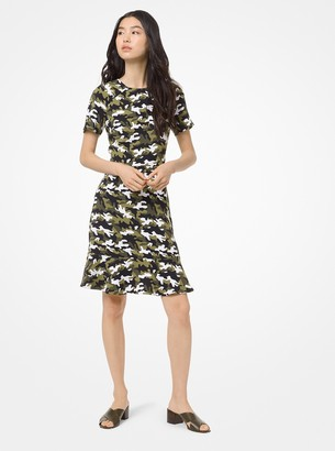 MICHAEL Michael Kors Camouflage Flounce Dress