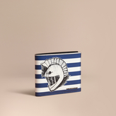 Burberry Striped London Leather Folding Wallet with Pallas Helmet Motif