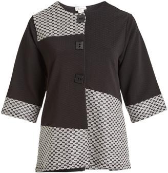 Seven Karat Women's Non-Denim Casual Jackets black - Black & White Geometric Color Block Button-Up Jacket - Plus