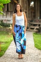 Hand Painted Floral Maxi Skirt, 'Graceful Blue Plumeria'