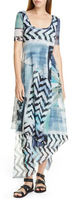Fuzzi Floral & Chevron Print Asymmetrical Maxi Dress