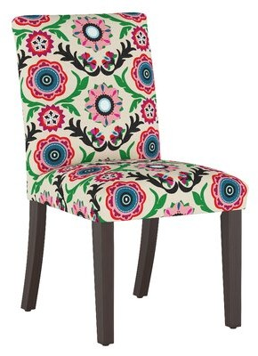 Skyline Furniture Cotton Parsons Chair Upholstery: Cream/Green/Pink Damask