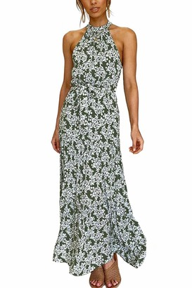 Zilcremo Women Summer Bohemian Dress Halterneck Floral Pleated Maxi Dresses Green S