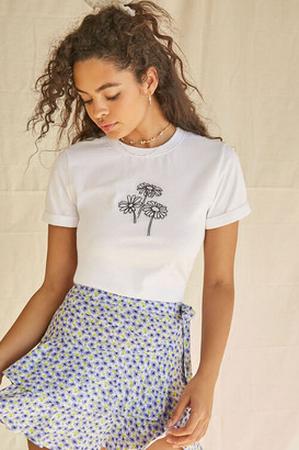 Forever 21 Embroidered Floral Graphic Tee