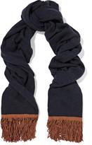 Autumn Cashmere Suede-trimmed cashmere scarf