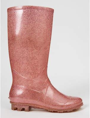 George Pink Glitter Wellington Boots