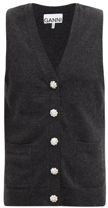 Ganni Crystal-buttoned Cashmere Sleeveless Cardigan - Grey