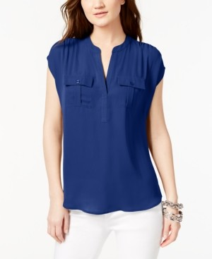 INC International Concepts Inc Split Neck Utility Shirt, Created for Macy's