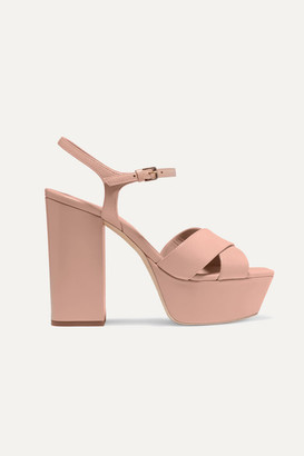 Saint Laurent Farrah Leather Platform Sandals - Neutral
