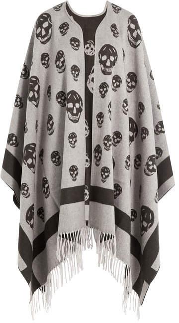 Alexander McQueen Skull Print Wool Cape