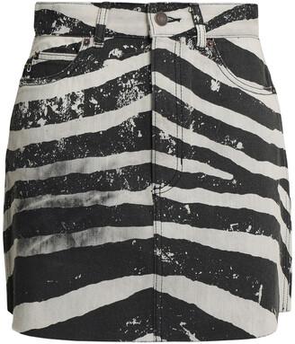 Marc Jacobs Coated Zebra-print Denim Mini Skirt