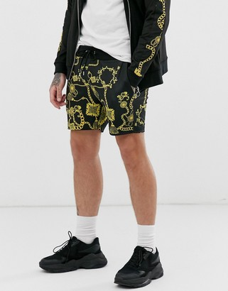 Asos Design DESIGN co-ord poly tricot skinny shorts in baroque print-Black