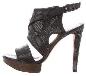 Lanvin Embellished Snakeskin Sandals