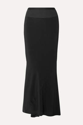 Rick Owens Ribbed Knit-trimmed Crepe De Chine Maxi Skirt - Black