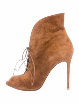 Gianvito Rossi Suede Lace-Up Boots Brown