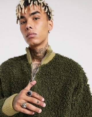 ASOS DESIGN knitted borg half-zip jumper in khaki