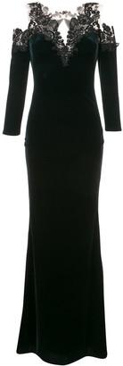 Marchesa cold-shoulder velvet gown