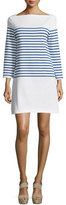 Milly Long-Sleeve Striped Mini Dress, Blue