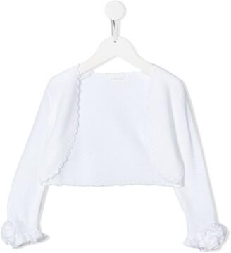 Mimilù Ruffled Sleeve Scalloped Cardigan