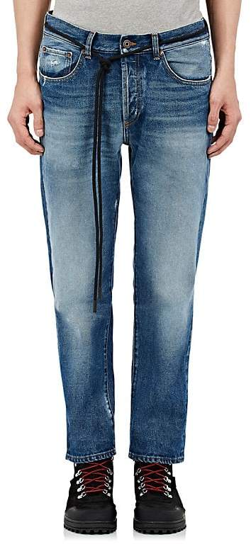 Off-White Men's Distressed Crop Straight Jeans
