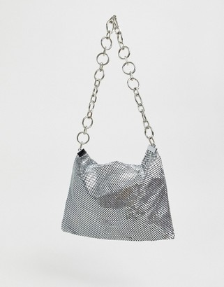 Glamorous silver sequin mesh 90s shoulder bag with chain strap