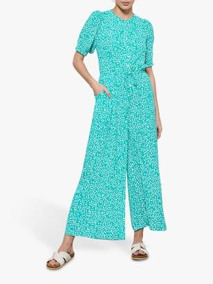 Mint Velvet Verty Puff Sleeve Jumpsuit, Jade Green