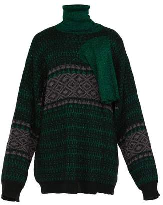 Raf Simons Triple Neck Oversized Jacquard Sweater - Mens - Green
