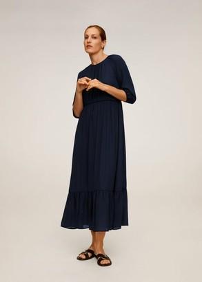 MANGO Flowy long dress navy - 4 - Women