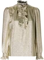 Stella McCartney ruffle trim metallic blouse