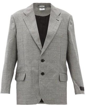 Vetements Cutaway-hem Checked Wool Blazer - Black White