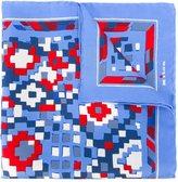 Kiton geometric print pocket square