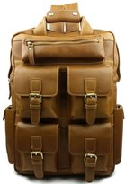 Chickle Men's Leather Khaki Ourdoor Backpack