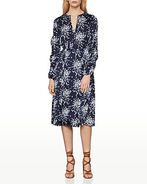 BCBGMAXAZRIA Floral Print Satin Wrap Dress