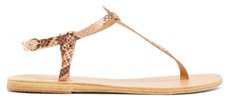 Ancient Greek Sandals Lito T-bar Strap Python-effect Leather Sandals - Womens - Pink Multi