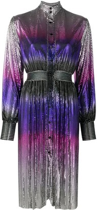 Paco Rabanne Embellished Ombre Print Shirt Dress