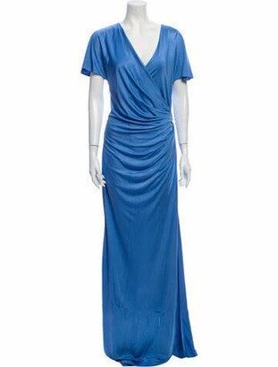 Lanvin V-Neck Long Dress w/ Tags Blue