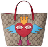 Gucci Girls' GG Supreme Flying Heart Tote Bag, Beige