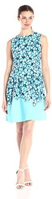 Sandra Darren Women's 1 Piece Sleeveless Stretch Twill Floral Printed Fit and Flare