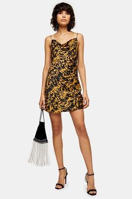 Topshop Mustard Animal Ruched Satin Slip Dress