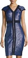 Jax Textured Zip-Front Cap-Sleeve Sheath Dress, Lapis/Midnight