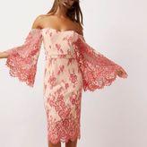 River Island Womens Pink lace flare sleeve bardot bodycon dress