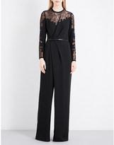 Elie Saab Wide-leg floral-lace jumpsuit