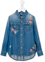 Ermanno Scervino floral embroidery denim shirt - kids - Lyocell - 4 yrs