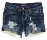 Vigoss Girls Lace Trimmed Ripped Front Shorts