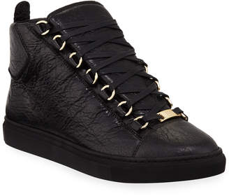 Balenciaga High-Top Calf Leather Sneakers, Black