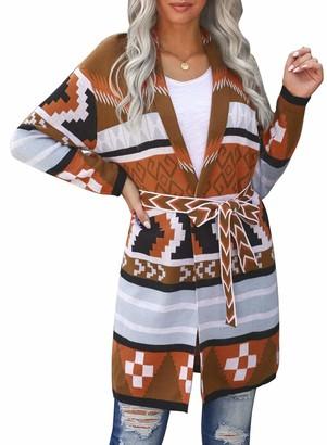 Corafritz Women's Ethnic Style Waist Tie Sweater Knee Length Open Front Cardigan Casual Long Sleeve Knitwear Coat