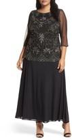 Pisarro Nights Plus Size Women's Embellished Mock Two-Piece Gown