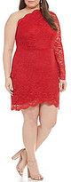 Jodi Kristopher Plus Long One Sleeve Scalloped Lace Sheath dress