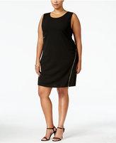 ING Trendy Plus Size Zip-Trim Sheath Dress